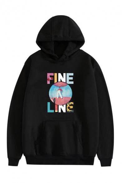 Stylish Figure Letter Fine Line Graphic Printed Drawstring Kangaroo Pocket Long Sleeve Relaxed  Fit Hooded Sweatshirt