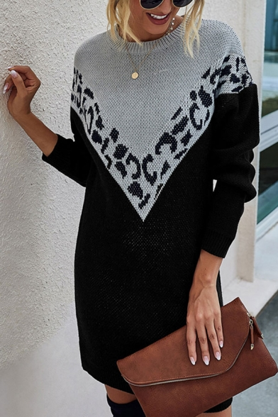 Trendy Leopard Printed Long Sleeve Crew Neck Knitted Short Shift Dress for Women