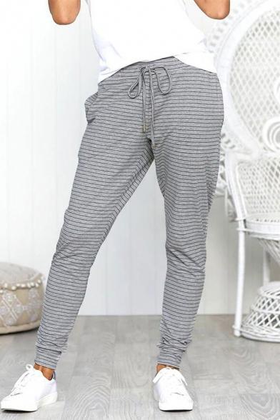 Women's Trendy Stripe Printed Drawstring Waist Casual Joggers Yoga Trousers Pants