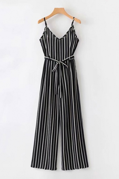 Womens Jumpsuits Chic Pinstriped Printed Bow-Tie Waist Long Spaghetti Strap Loose Fitted Sleeveless Jumpsuits