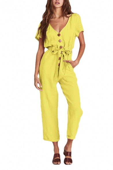 Womens Jumpsuits Simple Solid Color Button Detail Bow Short Sleeve V Neck Jumpsuits