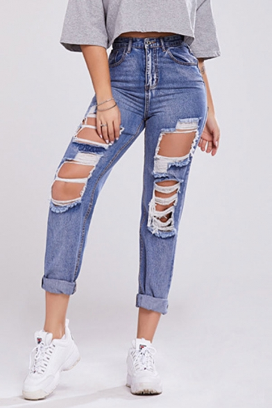 Baycheer / Womens Trendy Jeans High Rise Full Length Zip Placket Holes Pockets Straight Fit Acid Wash Jeans