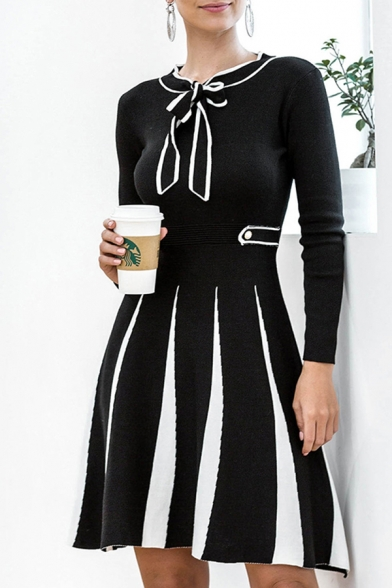 Black & White Unique Color Block Gathered Waist Bow Tie Neck Long Sleeve Short A-Line Sweater Dress for Women