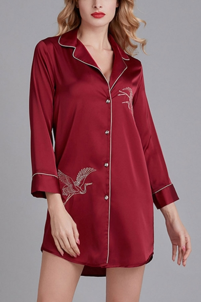 Casual Womens Crane Print Single Breasted Notched Lapel Long Sleeve Silk  Oversized Short Nightshirt