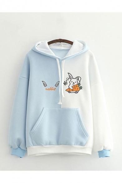 Fashionable Girls Color Block Cartoon Rabbit Carrot Letter Graphic Print Drawstring Kangaroo Pocket Long Sleeve Loose Fit Hooded Sweatshirt