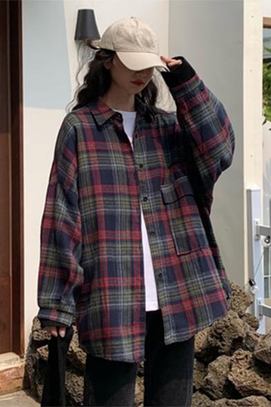 Leisure Womens Tartan Printed Long Sleeve Spread Collar Button down Long Loose Fit Shirt