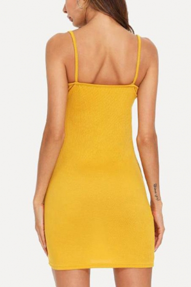 Sexy Backless Halter Neck Simple Plain Mini Bodycon Slip Dress