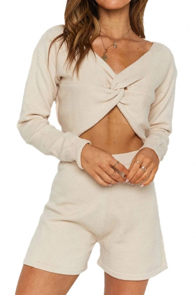 Sexy Womens Long Sleeve Twist Front V-neck Regular Fit Crop Sweater & Fit Shorts Set in White