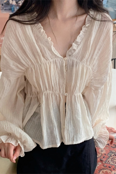Vented Ladies Semi-Sheer Chiffon Ruched Long Sleeve V-neck Bow Tied Front Plain Relaxed Fit Blouse