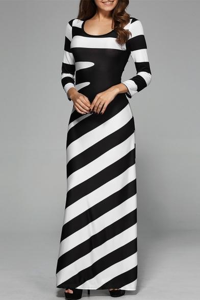 Women's Stylish Black And White Stripes Print Round Neck Long Sleeve Maxi Swing Dress