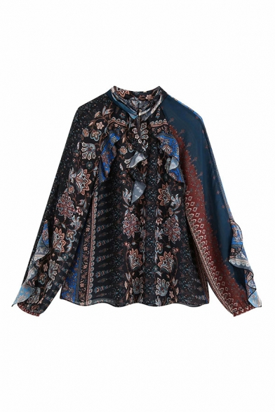 Womens Retro Tribel Style Floral Print Ruffle Patchwork Pleated Single Breasted Long Sleeve Mock Neck Oversized Blue Shirt