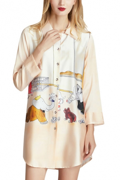 Apricot Novelty Womens Animal Print Button Front Turn-down Collar Long Sleeve Silk Mini Shift Nightshirt