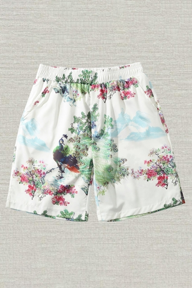 Basic Mens Shorts Peacock Flower Printed Pocket Regular Fitted Elastic Waist Relaxed Shorts
