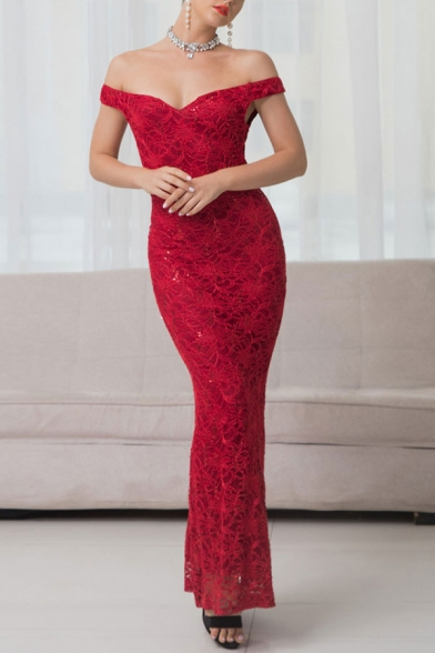 Boutique Ladies Crochet Off the Shoulder Maxi Fishtail Cocktail Dress in Red