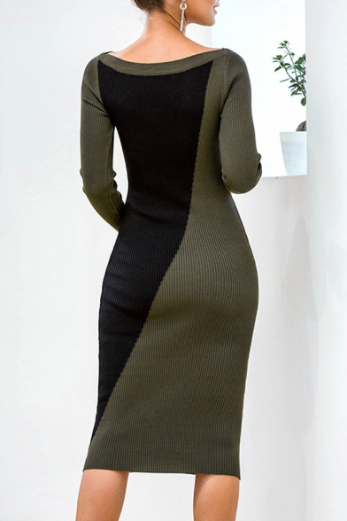 Casual Color Block Boat Neck Long Sleeve Midi Bodycon Sweater Dress for Women