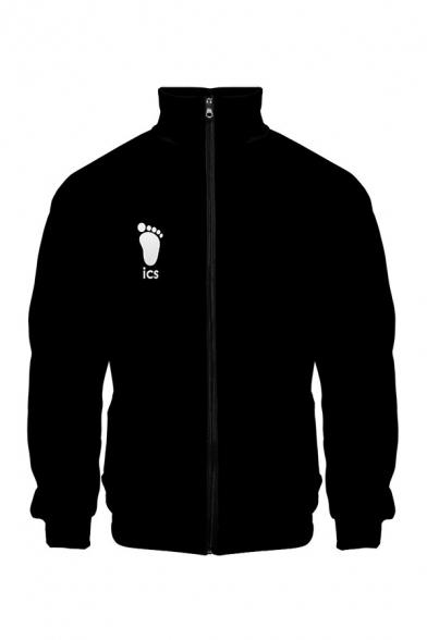 Chic Mens Footprint Letter Ics Graphic Printed Stand Collar Long Sleeve Loose Zipper Sweatshirt
