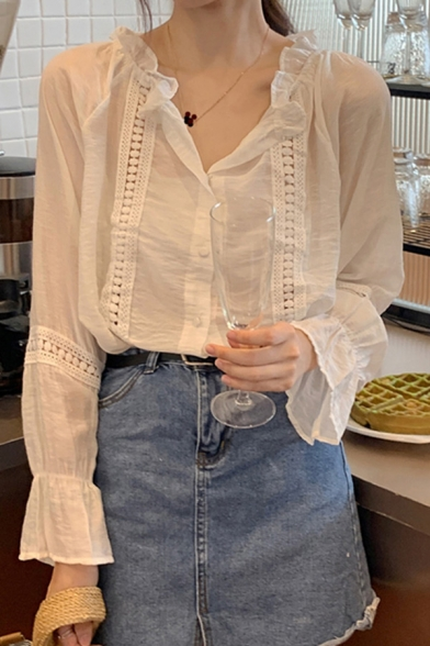 Cute Girls Plain Stringy Selvedge Lace Trim Long Sleeve Crew Neck Button Up Relaxed Fit Shirt Top