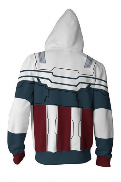 Designer 3D Contrasted Geo Print Long Sleeve Drawstring Zip Up Relaxed Hoodie in Gray