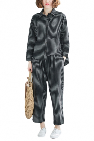 Fashion Womens Stripe Printed Long Sleeve Spread Collar Button Up Patched Asymmetric Relaxed Shirt & Cropped Carrot Fit Pants Set