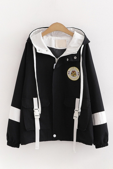 Fashionable Squirrel Letter Embroidery Flap Pockets Contrasted Long Sleeve Hooded Zipper Front Loose Jacket