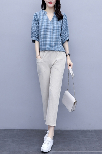 Formal Womens Checkered Printed 3/4 Sleeve V-neck Linen and Cotton Relaxed T-shirt & Cropped Straight Pants Set