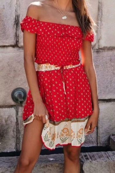Holiday Womens Ditsy Floral Printed Off the Shoulder Fit Crop T Shirt & Ruffled Mini A-line Skirt Set