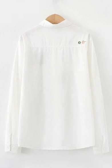 Lovely Cartoon Fox Embroidered Pocket Patched Lapel Collar Long Sleeve Button Front Shirt