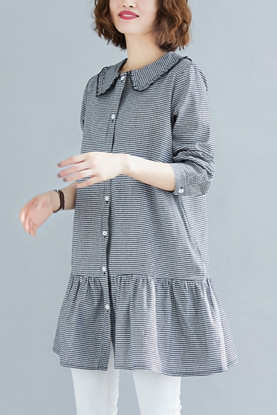 Lovely Girls Linen and Cotton Chestered Printed Long Sleeve Stringy Selvedge Peter Pan Collar Button Up Ruffled Hem Long Loose Shirt in Black