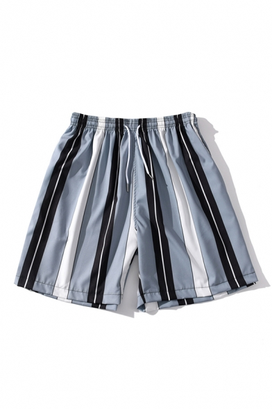 Mens Shorts Simple Striped Pattern Regular Fitted Drawstring Waist Relaxed Shorts