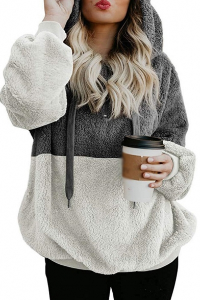 Popular Color Block Drawstring Long Sleeve Plush Relaxed Fit Hoodie