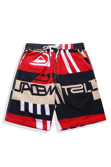 Popular Colorblock Fast Drying Drawstring Waist Mens Swimwear Beach Shorts