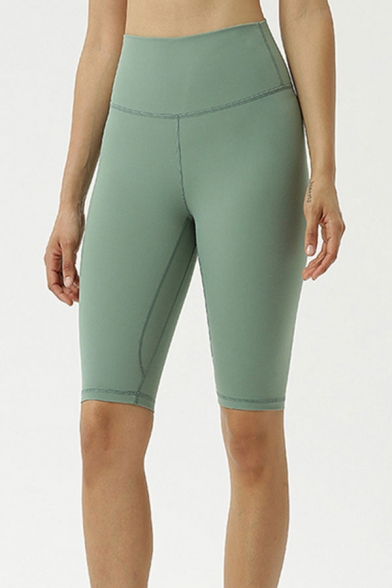 Simple Womens Solid Color High Rise