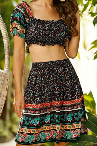 Tribal Style Womens Ditsy Floral Printed Short Sleeve Off the Shoulder Slim Fit Crop T Shirt & Mini A-line Skirt Set in Black
