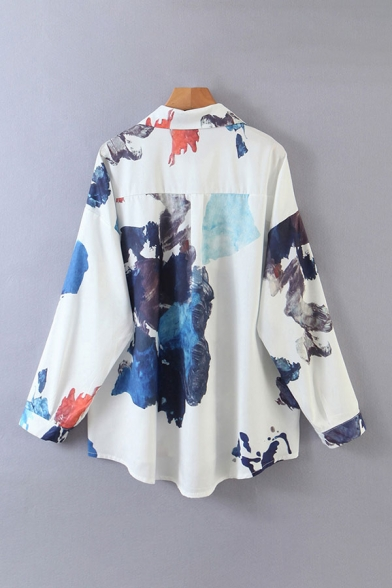 Vintage Womens Splash Ink Long Sleeve Spread Collar Button Up Loose Fit Shirt Top in White