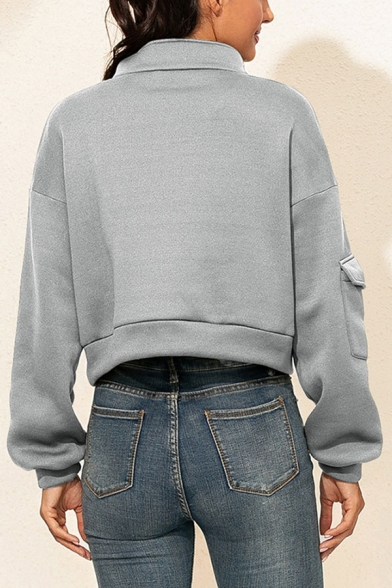 Womens Cool Solid Color Flap Pocket Long Sleeve Half Zipper Stand Neck Regular Cropped Pullover Sweatshirt