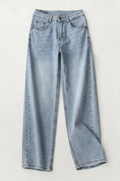 Baycheer / Womens Fashion Jeans Rivets Patched Detail Medium Wash Full Length Zip Fly High Rise Pockets Straight-leg Boyfriend Jeans