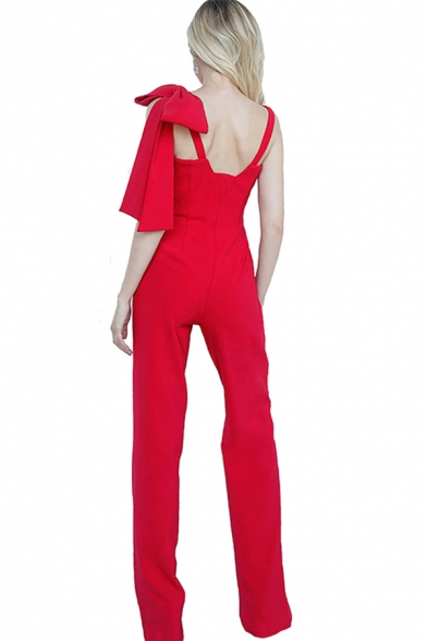 Basic Womens Jumpsuits Solid Color Bow Decoration Notch Neck Regular Fitted Sleeveless Wide Leg Jumpsuits