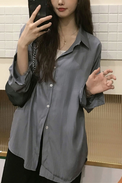 Casual Solid Color Button Up Turn-down Collar Long Sleeve Relaxed Fit Tunic Shirt for Women