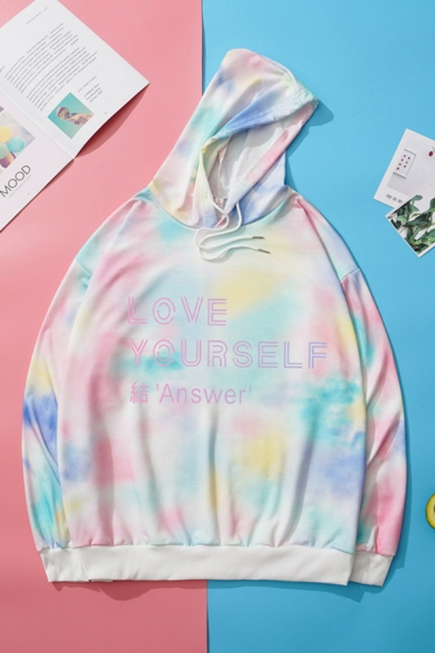 Classic Womens Hoodie Tie Dye Letter Love Yourself Pattern Cuffed Drawstring Long Sleeve Relaxed Fitted Hoodie