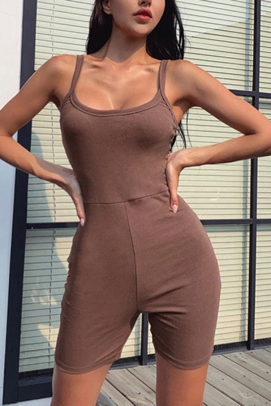 Dainty Womens Rompers Solid Color Sleeveless Skinny Strap Short Backless Cotton Rompers in Brown