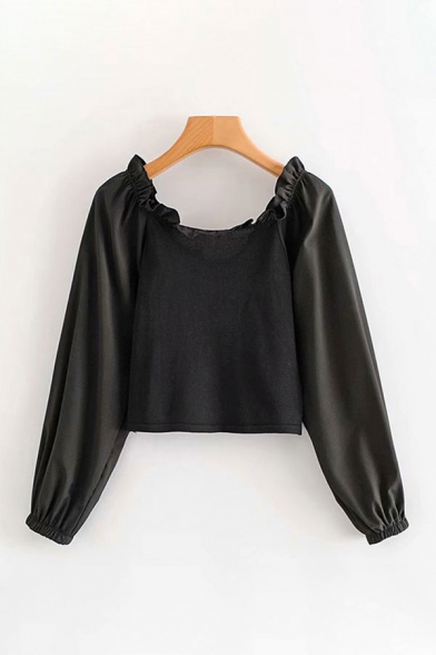 Fancy Solid Color Long Sleeve Off the Shoulder Lace Up Front Loose Crop Blouse Top
