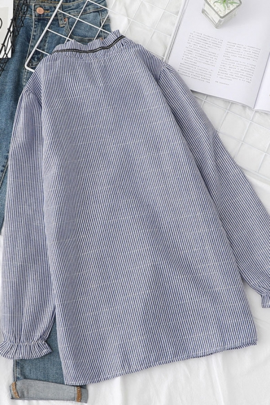 Fashion Womens Stripe Printed Long Sleeve Bow Tied Collarless Button Up Relaxed Fitted Shirt in Blue