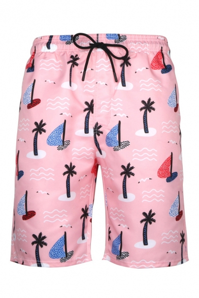 Mens 3D Stylish Shorts Cartoon Coconut Tree Sailboat Wave Dots Pattern Pocket Drawstring Mid Waist over the Knee Length Regular Fitted Relax Shorts
