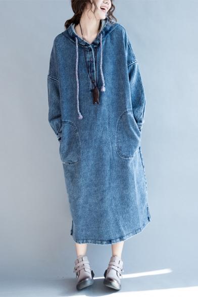 New Arrival Hooded 3/4 Length Sleeve Button Detail Plain Mini Denim Dress