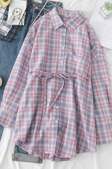 Popular Girls Plaid Printed Long Sleeve Point Collar Button Up Bow Tied Waist Chest Pocket Curved Hem Long Loose Shirt in Purple