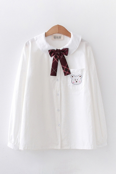 Preppy Girls Bear Rabbit Embroidered Chest Pocket Long Sleeve Turn Down Collar Bow Loose Fit Shirt Top in White