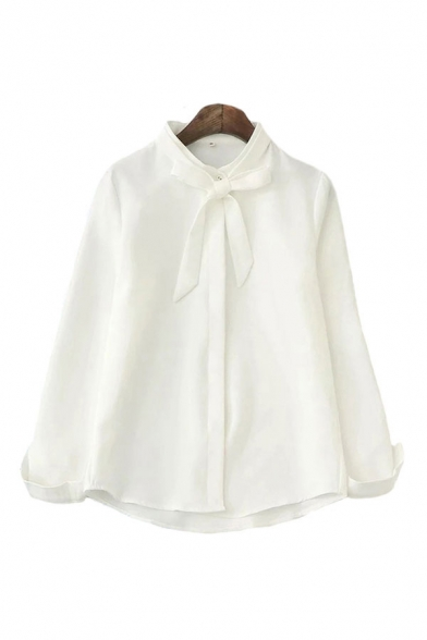 Simple White Chiffon Long Sleeve Bow Tied Neck Button Up Curved Hem Relaxed Shirt for Ladies