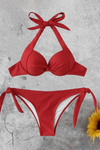 Sleeveless Diamante Embellished Halter Bikini
