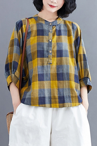 Tribal Style Womens Checkered Printed 3/4 Sleeve Crew Neck Button Up Linen and Cotton Relaxed Henley Shirt