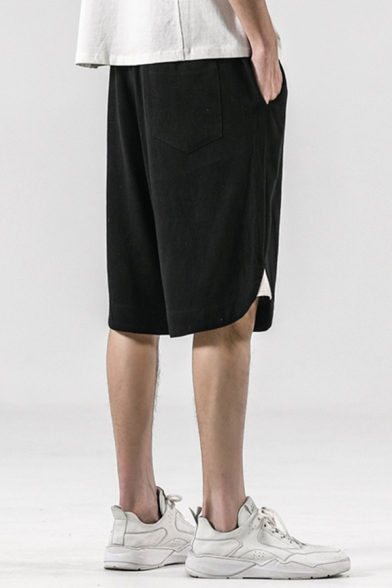 Casual Linen and Cotton Drawstring Waist Slit Sides Knee Relaxed Fit Shorts
